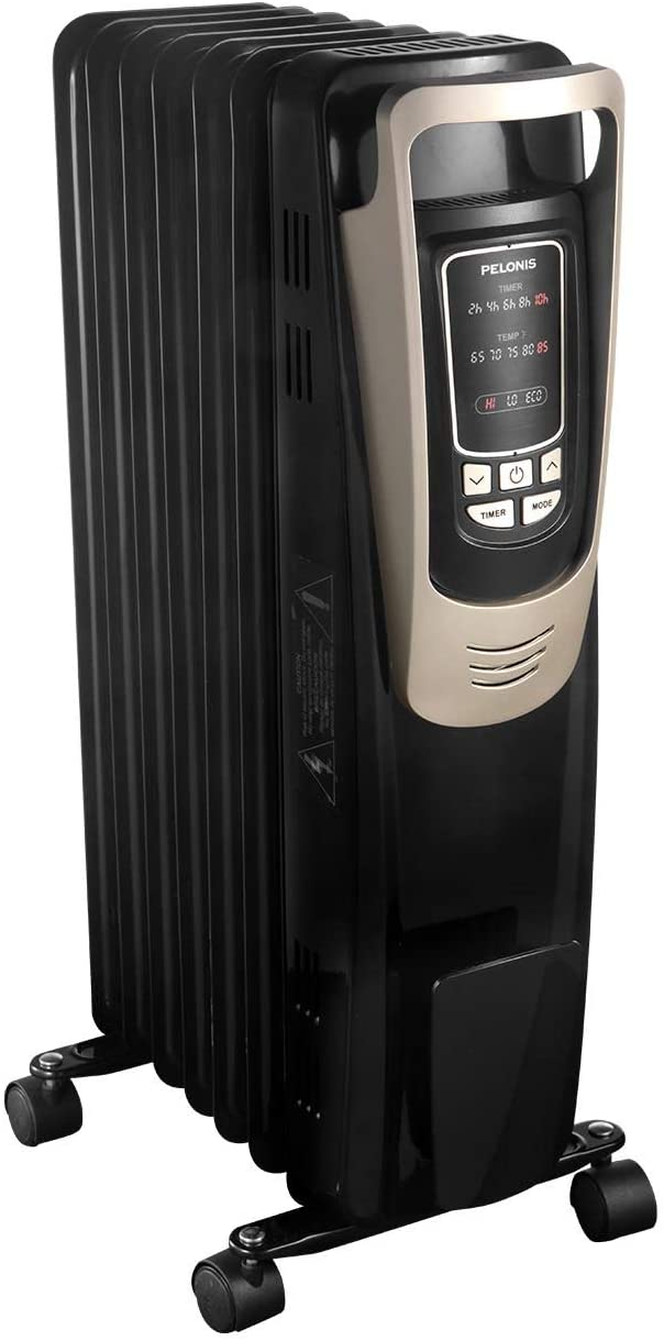 PELONIS Oil Filled Radiator Heater Luxurious Champagne Portable Space Heater with Programmable Thermostat