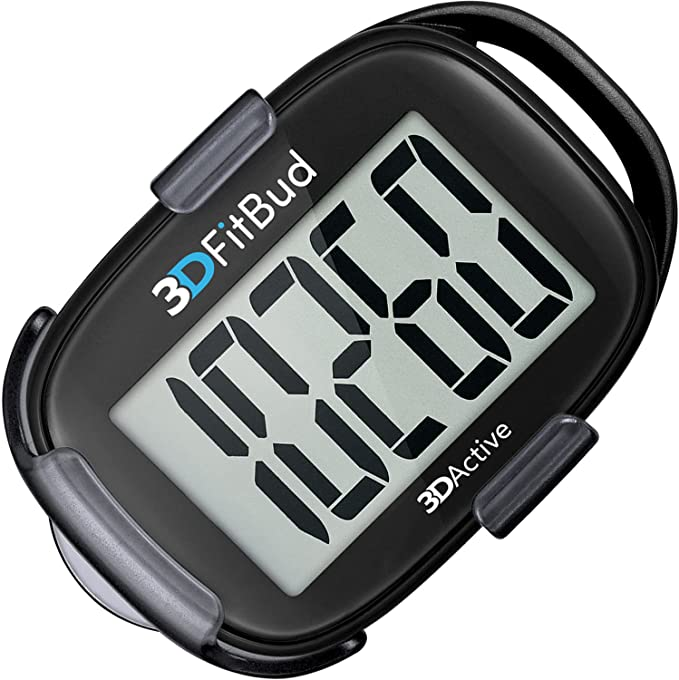 3DFitBud Simple Step Counter Walking 3D Pedometer with Clip and Lanyard