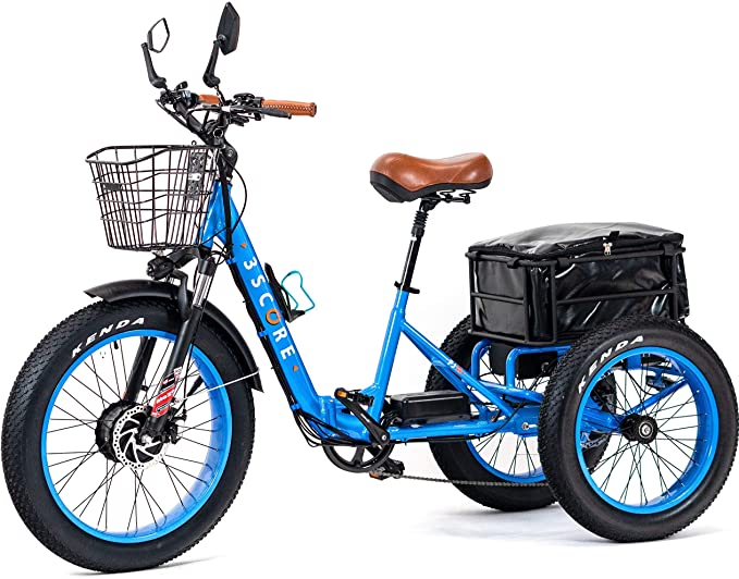 3Score Electric Fat Trike 750W Motor and 48V 17.4 AH LG Lithium Rechargeable Battery