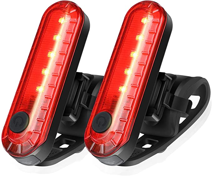 Ascher USB Rechargeable LED Bike Tail Light 2 Pack