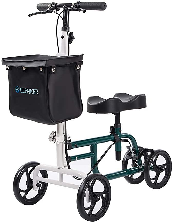ELENKER Best Value Knee Walker Steerable Medical Scooter Crutch Alternative with Dual Braking System Green+White