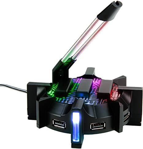 ENHANCE Pro Gaming Mouse Bungee Cable Holder with 4 Port USB Hub - 7 LED Color Modes with RGB Lighting - Wire & Cord Management Support for Improved Accuracy