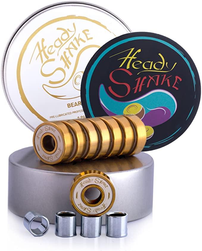 Heady Shake Pro Skateboard Bearings - Fastest Premium 608rs Titanium - Longboard