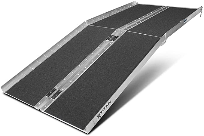 Titan Ramps Portable Wheelchair Ramp Multi Fold 7 ft Long x 30 in Wide Anti-Slip