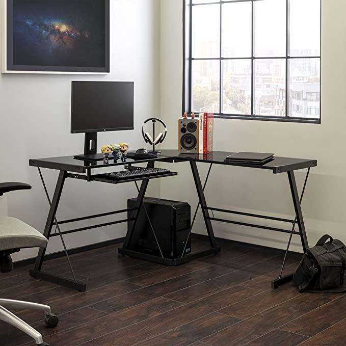 Walker Edison Ellis Modern Glass Top L Shaped Corner Gaming Desk with Computer Keyboard Tray